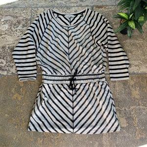 LOFT Black/White Striped Drawstring Dress